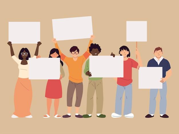 バナーボード、症状の抗議とデモンストレーションのテーマのイラストと女性と男性の漫画