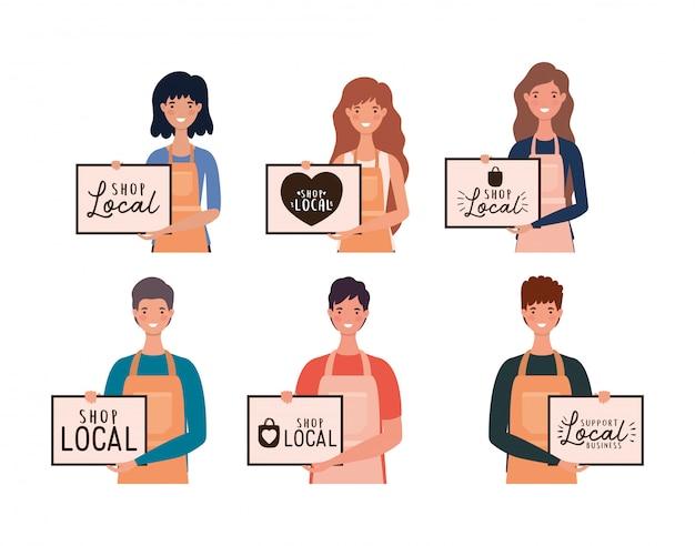 Женские и мужские мультики с магазином местных плакатов, оформлением розничной покупки и темой рынка