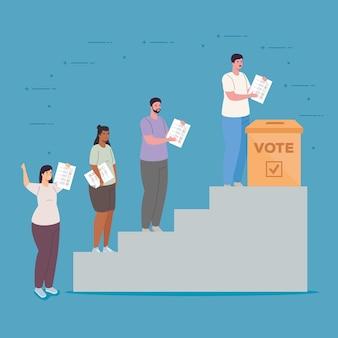 はしごのデザイン、投票選挙の日と政府の投票ボックスと女性と男性の漫画