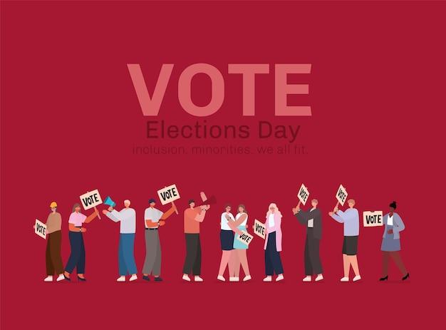 Мультяшные женщины и мужчины с плакатами для голосования и дизайном мегафона, день выборов