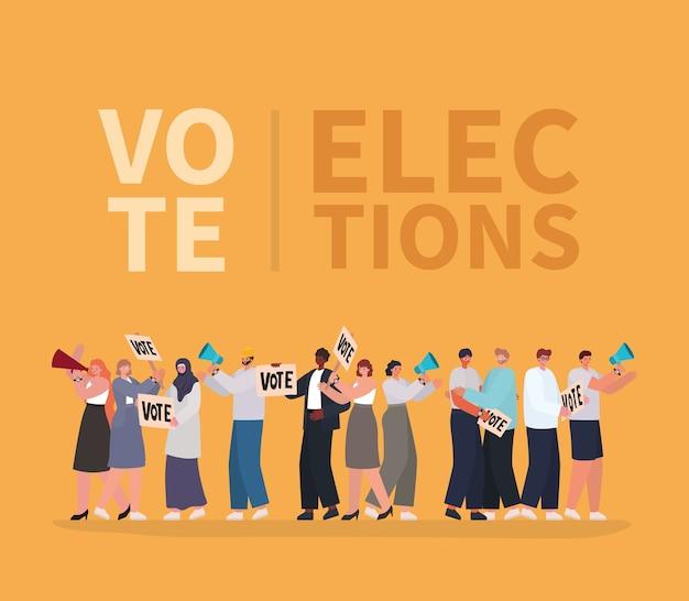オレンジ色の背景デザイン、投票選挙日のテーマにメガホンと投票プラカードを持つ女性と男性の漫画。