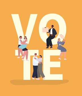 オレンジ色の背景デザイン、投票選挙日のテーマに投票プラカードを持つ女性と男性の漫画。