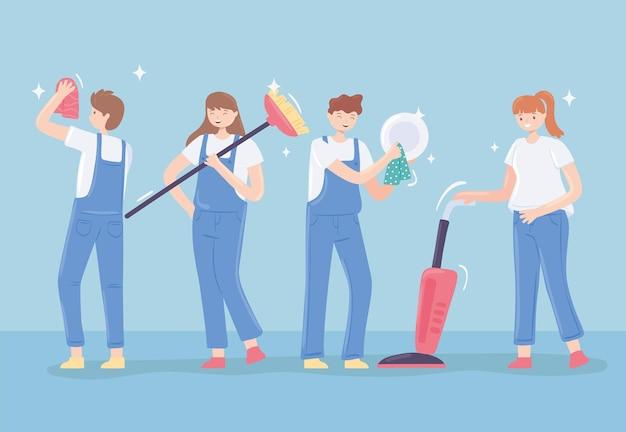청소하는 여성과 남성
