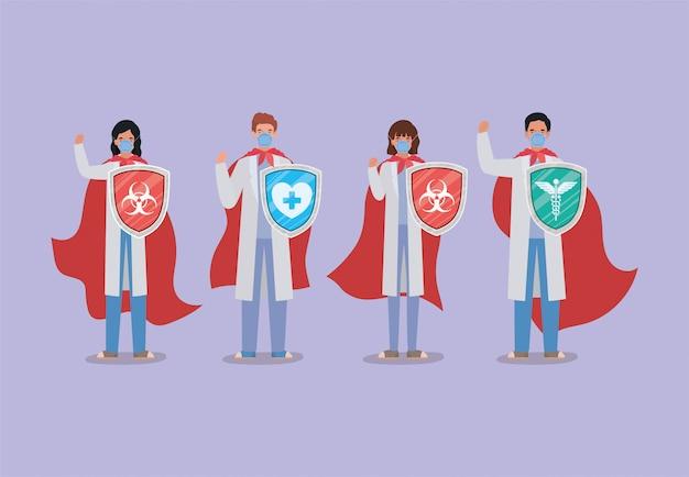 Covid 19流行病の症状と医療テーマイラストの2019 ncovウイルスデザインに対するケープとシールドを持つ女性と男性の医師のヒーロー