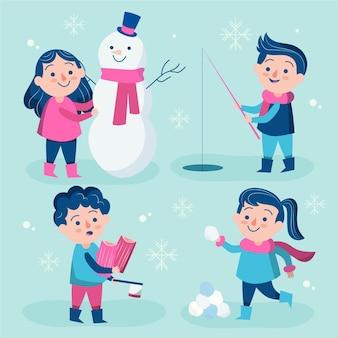 さまざまな冬の活動をしている女性と男性