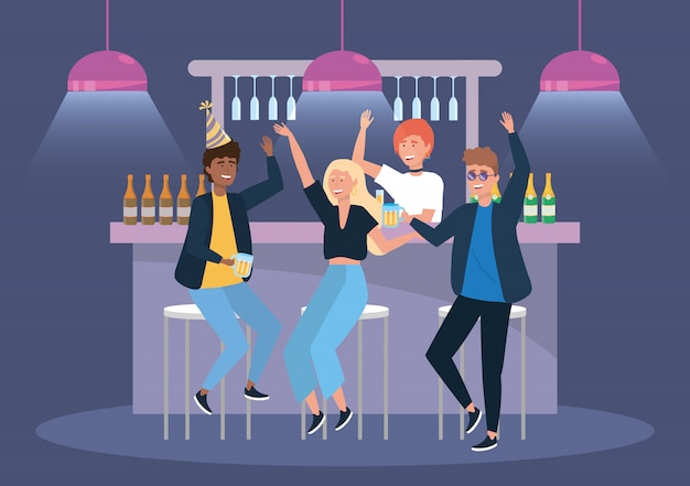 ビールとシャンパンのイベントでの女性と男性
