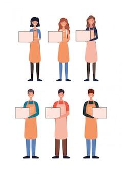 Женщины и мужчины продавцы мультфильмов с плакатами дизайн магазина розничной покупки и темы рынка