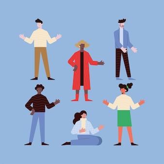 파란색 배경에 설정 된 여성과 남성