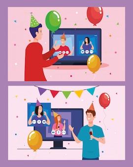ビデオ会議でパーティーハットと風船を持つ女性と男性