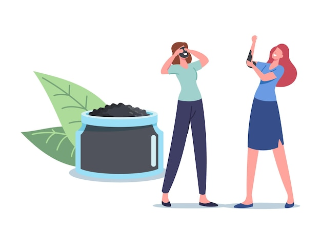 Women applying natural mineral mud or charcoal mask. tiny female characters at huge cosmetic jar apply moisturizing spa baths hygiene procedure, body and face care concept. cartoon vector illustration
