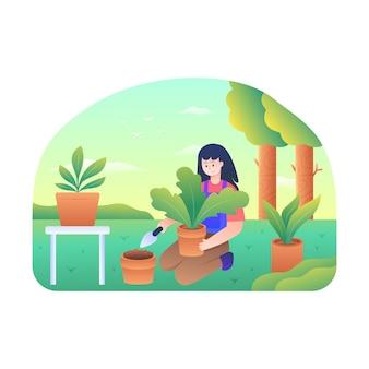 여성들은 식물에 비료를 뿌리고 있습니다