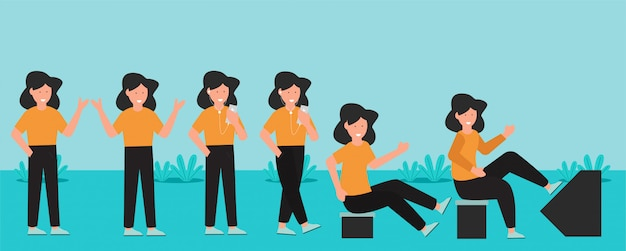 Women are exercising character design set