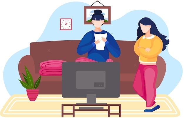 Женщины смотрят телевизор. молодые люди общаются и проводят время вместе.