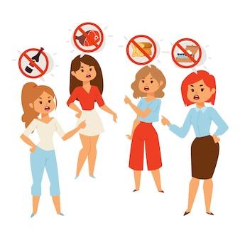 Женщины спорят о диетическом питании и здоровом питании Premium векторы