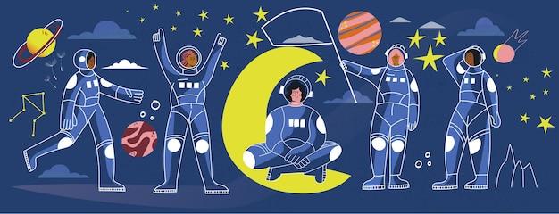 우주복 공간 벡터 라인 그림 배너 여자 우주 비행사 의상에서 여자 우주인