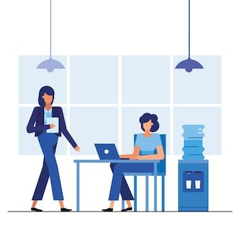 사무실 디자인, 비즈니스 개체 인력 및 기업 테마의 데스크에서 여성
