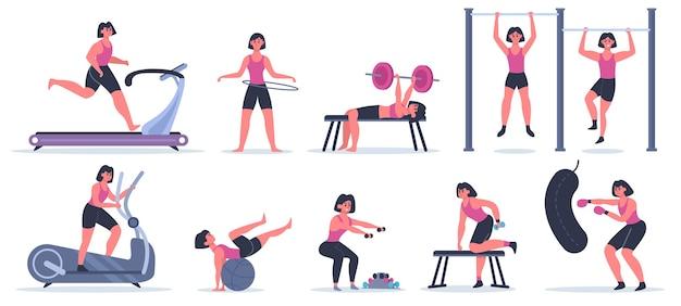 Женщины в спортзале. женский спортивный фитнес-персонаж, девушка тренировки бегает, подтягивается и приседает, тренировка в спортивном тренажерном зале иллюстрации набор. женщина упражнения тренировки, спортивная женщина с гантелями