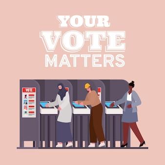 귀하의 투표가있는 투표소의 여성은 텍스트 디자인, 선거일 테마가 중요합니다. 프리미엄 벡터