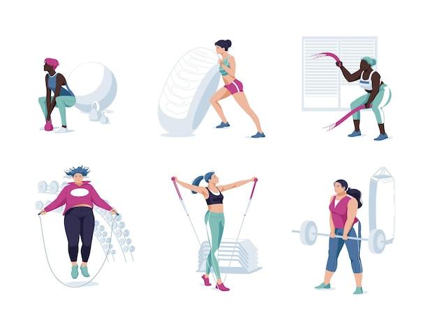 ジムセットでエクササイズトレーニングをしている女性アスリート。平らな