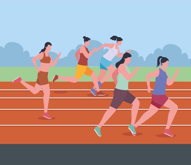 Women athletes in marathon
