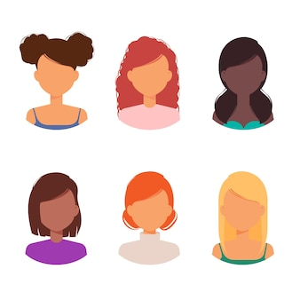 Women avatar with different hairstyles and haircuts collection