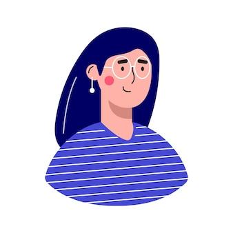 여성 아바타 캐릭터. 명랑하고 행복한 사람들은 평면 벡터 일러스트레이션을 설정합니다. 남성과 여성의 초상화, 그룹, 팀. 사랑스러운 소녀들의 트렌디한 팩.