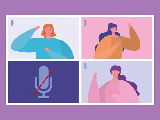 ビデオチャットデザイン、オンライン会議、ウェブカメラのテーマイラストの呼び出しのウェブサイト上の女性アバター