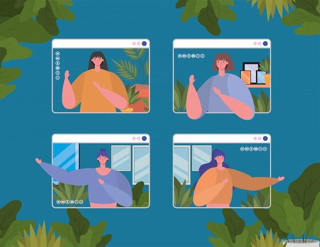 ビデオチャットデザインのウェブサイトの女性アバター