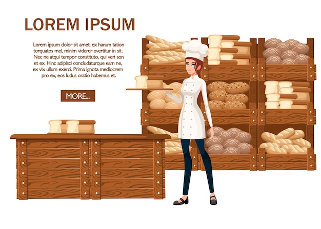 女性のパン屋のシェフ。白い背景のイラスト。