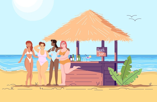 Women at beach bar flat doodle illustration. female friends by sea. cocktail party at seaside. vacation in exotic country. indonesia tourism 2d cartoon character with outline for commercial use