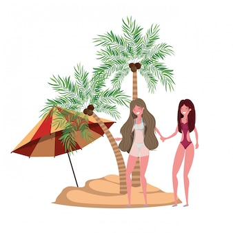 Women on the beach with swimsuit and palms
