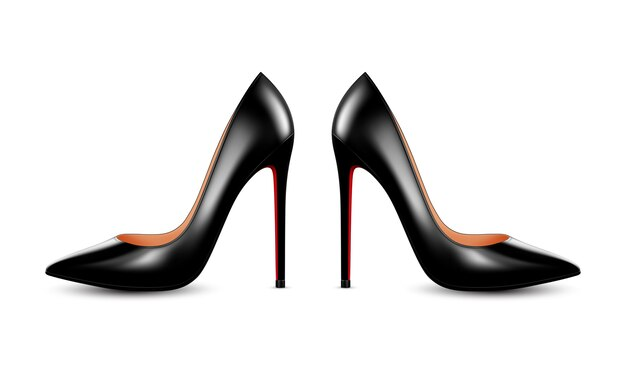 Women black leather high heel shoes. realistic  illustration isolated on white background