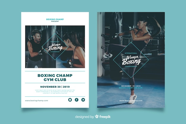 Women boxing sport poster template