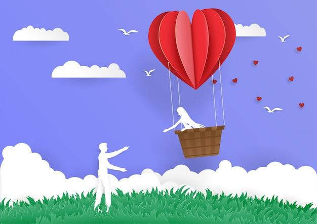 Women in bucket heart balloon go to man couple love