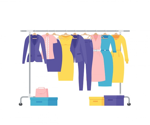 Women business clothes on hangers rack. flat   illustration.