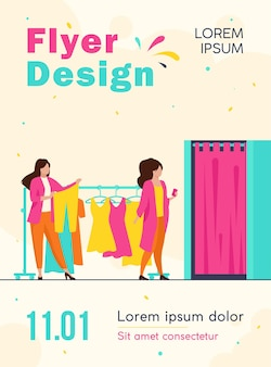 Women buying clothes in apparel store flyer template