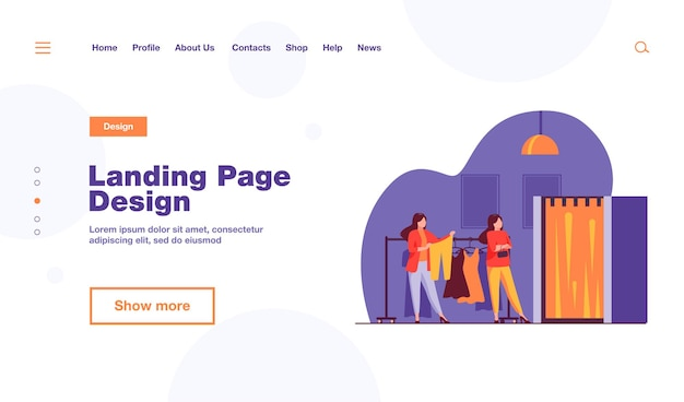 Women buying clothes in apparel store landing page template