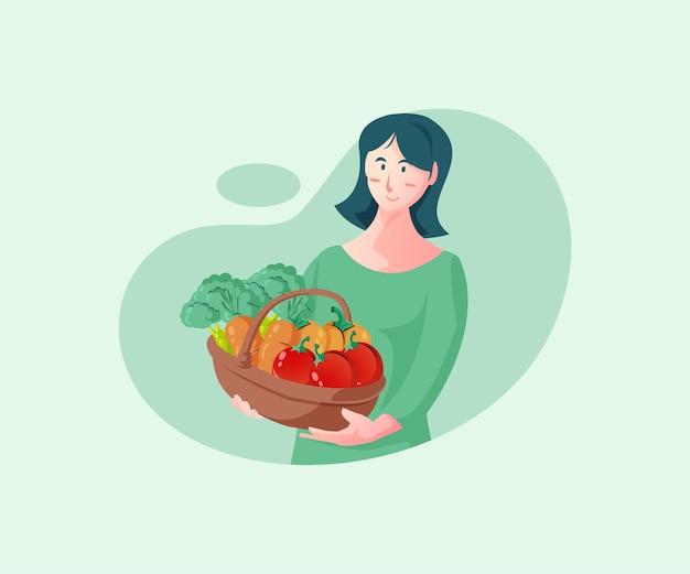 新鮮な野菜を買う女性