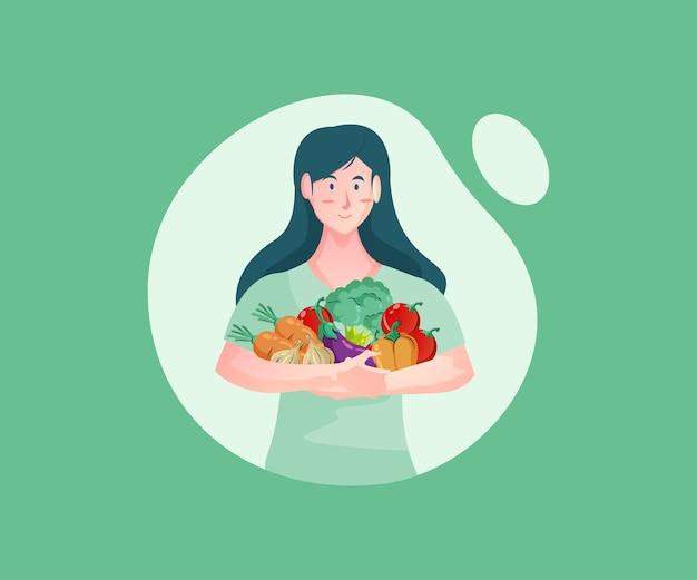 Женщины покупают свежие овощи