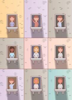 Windowsデザインの女性漫画