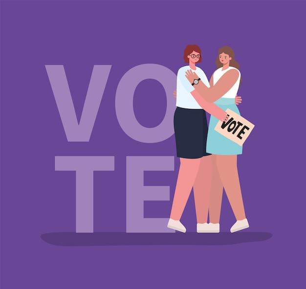 Женщины карикатуры обнимаются с дизайном избирательного плаката, голосование в день выборов