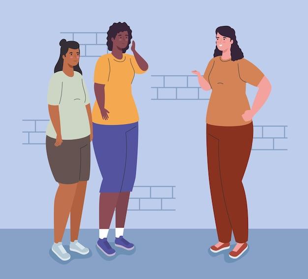 벽 디자인, 여자 여자 여자 사람과 사람들 앞에서 여자 만화