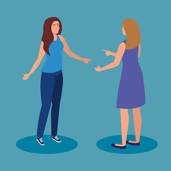파란색 배경 디자인, 여자 여자 여자 사람과 사람들 테마에 여자 만화
