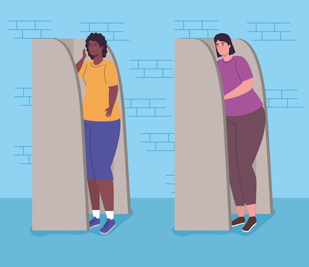 Women cartoons in vote booths design, vote elections day and government