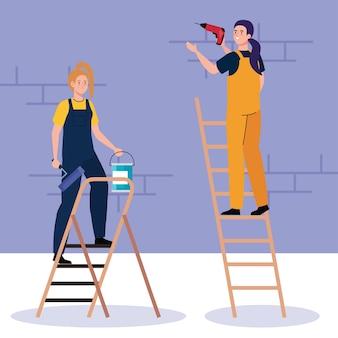 리모델링 작업 및 수리의 사다리 디자인에 건설 드릴 및 페인트 통이있는 여성 만화