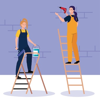Women cartoons with construction drill and paint bucket on ladder design of remodeling working and repairing