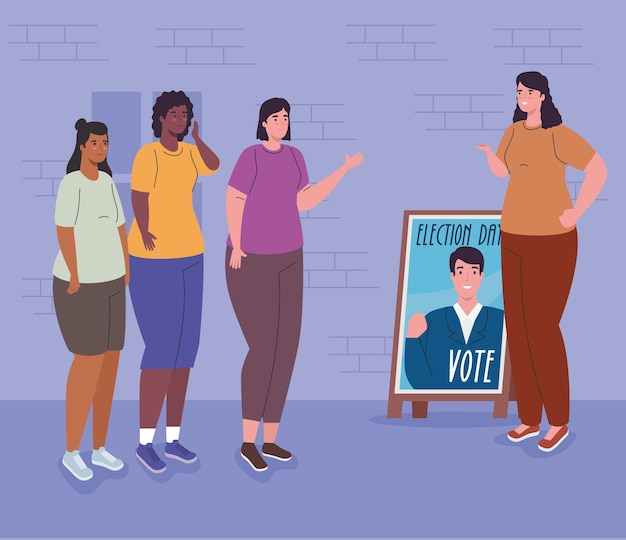 Women cartoons with president banner design, vote elections day and government