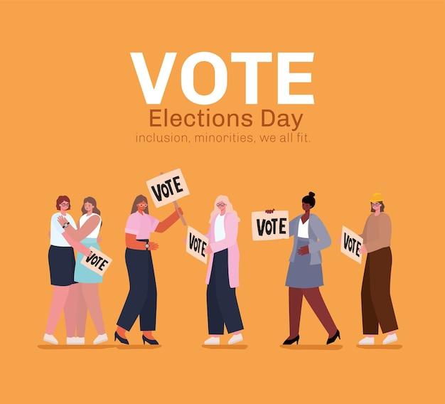 Женские мультфильмы с дизайном избирательных плакатов, день выборов