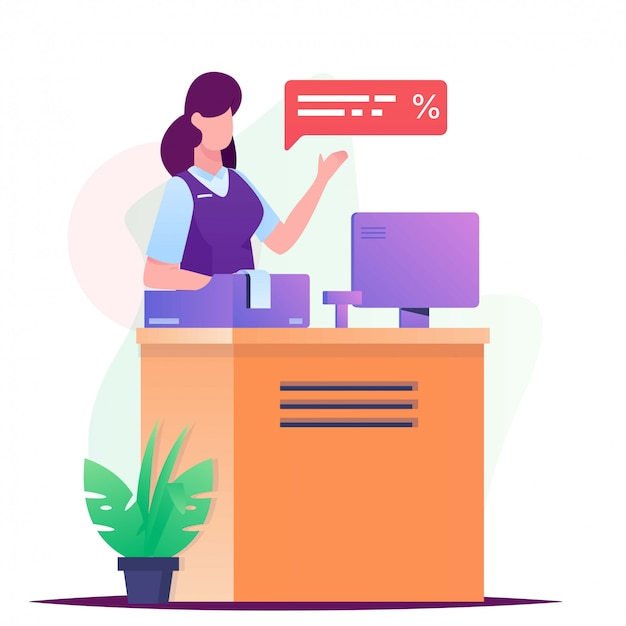 Women cashier on desk illustration
