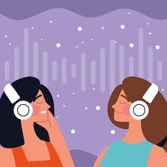 이어폰을 사용하는 여성 캐릭터